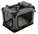 Sivá látková prepravka pre psa - kennel L 81x58x58 cm