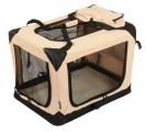 Béžová látková prepravka pre psa - kennel M 70x52x52 cm