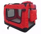 Červená látková prepravka pre psa - kennel M 70x52x50 cm