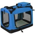 Modrá látková prepravka pre psa - kennel S 60x42x44 cm