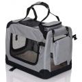 Sivá látková prepravka pre psa - kennel M 70x52x50 cm