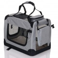 Sivá látková prepravka pre psa - kennel S 60x42x44 cm